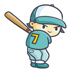 Cute and funny cool baseball player ready to hit the ball - vector