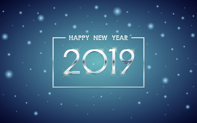 Silver Happy new year 2019 in square label with glowing glitter on blue color background
