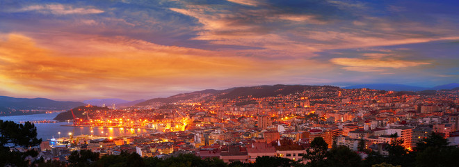 Vigo skyline and port sunset in Galicia Spain Wall mural
