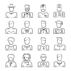 hand drawn people avatar icons
