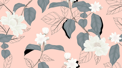 Floral seamless pattern, white jasmine flowers, paenia lactiflora flowers with black outline leaves on light red background