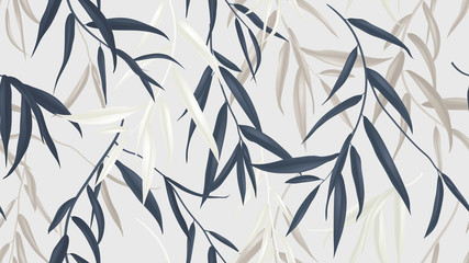 Floral seamless pattern, multicolored Weeping Willow leaves on light grey background
