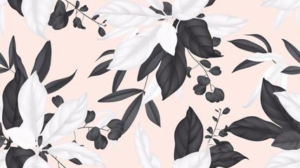 Floral seamless pattern, black and white magnolia leaves, eucalyptus leaves on light orange background