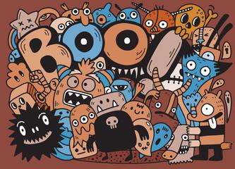 Happy Halloween contour outline doodle. Ghost, bat, pumpkin, spi