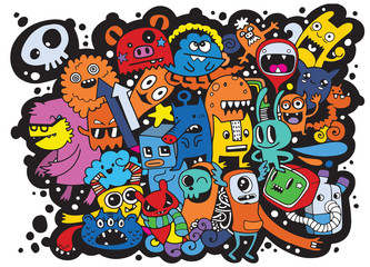 Vector illustration of Doodle cute Monster background ,Hand draw