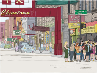 Hand drawn illustration. Busy scene at the entrance to Chinatown in Chicago.