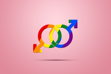 Two male signs are painted in LGBT colors on a pink background. The concept of same-sex relationships, same-sex marriages, gay problems, discrimination, tolerance.