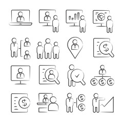 hand drawn business management concept icons