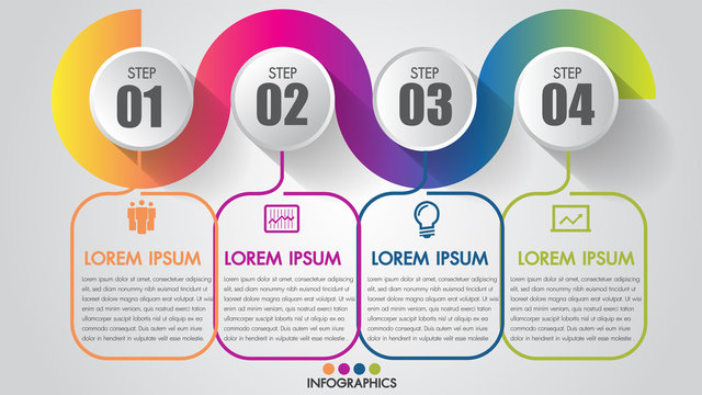 Infographics Chart 4 steps options business  timeline modern creative with icon step by step can illustrate vector a strategy, workflow or team work.