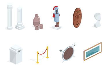 Museum exhibition isometric exhibits elements vector illustration. Isolated set of historical warrior armors, tribal mask or ancient vase and picture gallery with pedestal stands and rope border