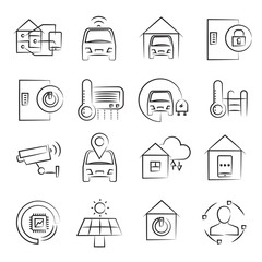 hand drawn smart home and home automation concept icon set