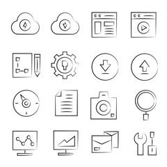 hand drawn web icon set