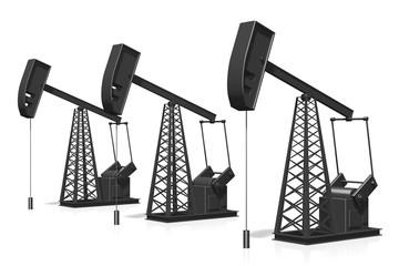 3D oil wells - oil/ petroleum extraction concept