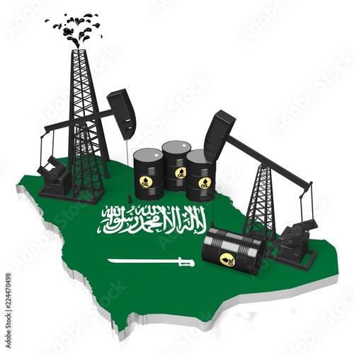 3D oil wells in Saudi Arabia concept