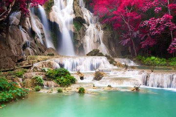 Wall Murals Waterfalls Turquoise water of Kuang Si waterfall, Luang Prabang. Laos