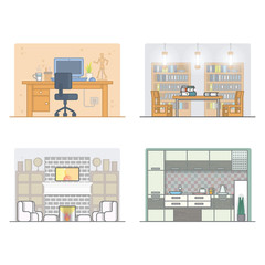 Indoor and interior design with different room