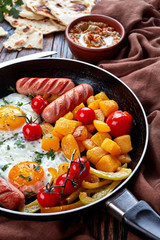 Mediterranean breakfast with baba ganoush dip