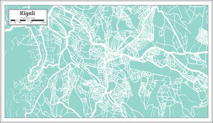 Kigali Rwanda City Map in Retro Style. Outline Map.