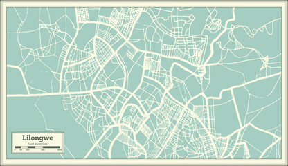 Lilongwe Malawi City Map in Retro Style. Outline Map.
