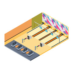 Bowling Alley Isometric Illustration