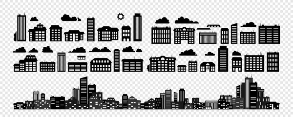Set - Silhouettes of buildings.