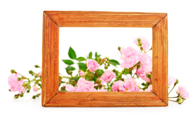 Roses in brown wooden frames.