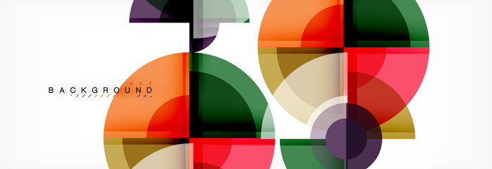 Abstract background - multicolored circles, trendy minimal geometric design