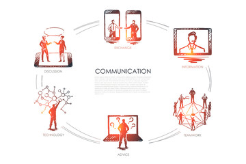 Communication - exchange, information, teamwork, advice, technology set concept.