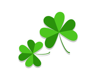 Three leaf clover isolated on white, vector illustration for St. Patrick's day