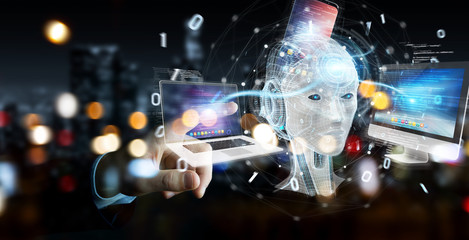 Businessman using white humanoid controlling modern devices 3D rendering
