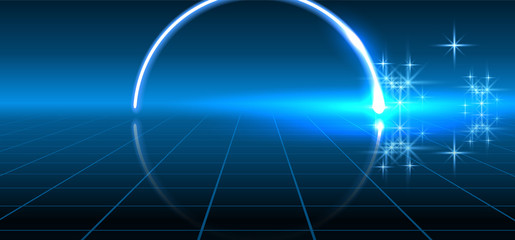 Abstract fantastic background with neon geometric circular line, sparkle stars and space portal into another dimension