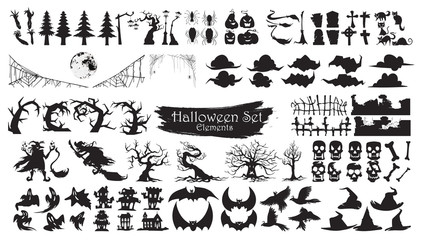 Spooky Halloween Silhouette Elements Vector Collection isolated on white background. scary and creepy element icon character