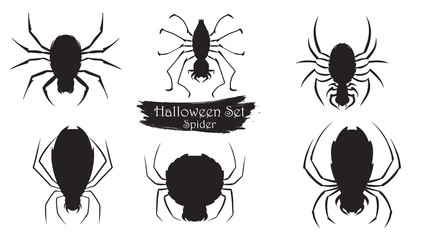 Spooky spider silhouette collection of Halloween vector isolated on white background. scary and creepy element icon character