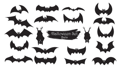 Spooky bats silhouette collection of Halloween vector isolated on white background. scary and creepy element