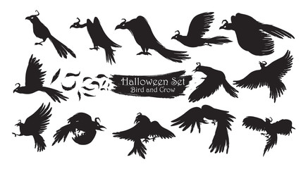Spooky crow silhouette collection of Halloween vector isolated on white background. scary and creepy raven birds element
