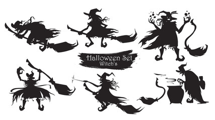 Spooky witch with brooms and hats silhouette collection of Halloween vector isolated on white background. scary and creepy element