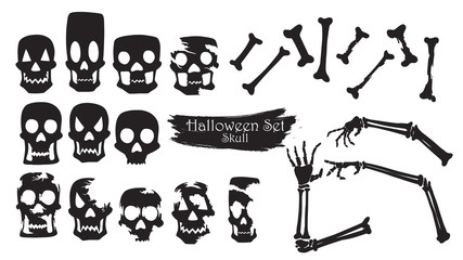 Spooky skull silhouette collection of Halloween vector isolated on white background. scary head and creepy hand element