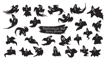Spooky ghost fly silhouette collection of Halloween vector isolated on white background. scary, haunted and creepy expression element