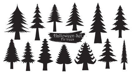 Spooky fir silhouette collection of Halloween vector isolated on white background. scary, haunted and creepy tree element