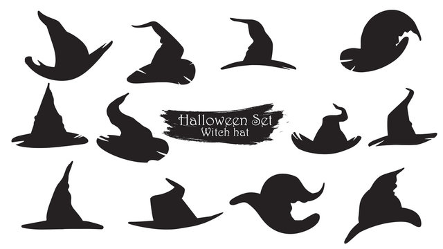 Spooky witch hats silhouette collection of Halloween vector isolated on white background. scary and creepy element