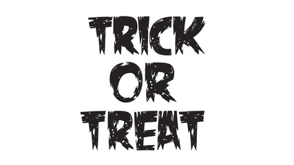 Spooky trick or treat text with wood texture isolated on white background. scary, haunted and creepy hand lettering for party invitation, greeting card, banner