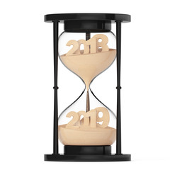 New 2019 Year Concept. Sand Falling in Hourglass Taking the Shape from 2018 to 2019. 3d Rendering