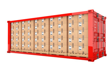 Rows of Cardboard Boxes on Wooden Palettes in Red Shipping Container with Removed Side Wall. 3d Rendering