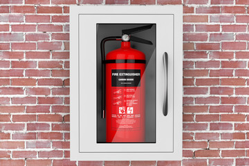 Red Fire Extinguisher in a Wall Mounted Emergency Storage Box. 3d Rendering