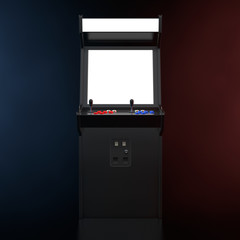 Gaming Arcade Machine with Blank Screen for Your Design in the Color Volumetric Light. 3d Rendering