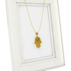 Golden Hamsa, Hand of Fatima Amulet Coulomb over Empty Photo Frame. 3d Rendering