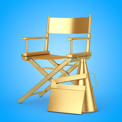 Golden Director Chair, Movie Clapper and Megaphone. 3d Rendering