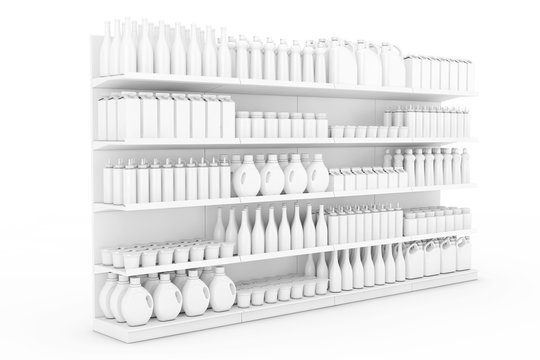 Supermarket Shelving Rack with Blank Products or Goods in Clay Style. 3d Rendering