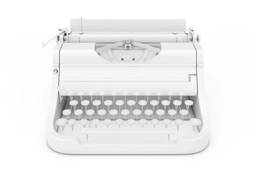 Old Vintage Retro Typewriter in Clay Style. 3d Rendering