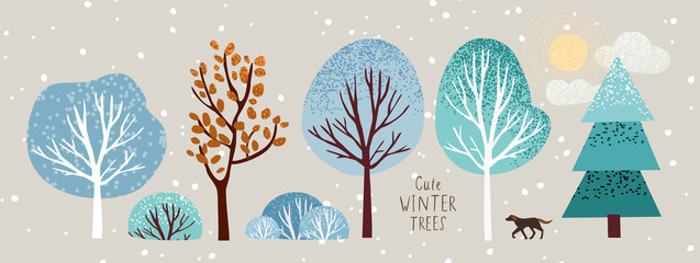 cute winter trees, vector isolated illustration of trees, leaves, fir trees, shrubs, sun, snow and clouds, New Year and Christmas objects and elements of nature to create a landscape Fotoväggar